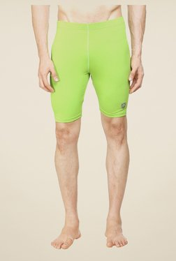 Armr Neon Green Solid Skinny Fit Sports Shorts