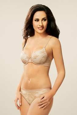 Amante Beige & White Padded Seamless Bra