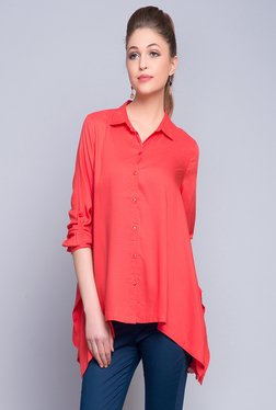28f5b80aff6306 Fabindia Red Solid Shirt