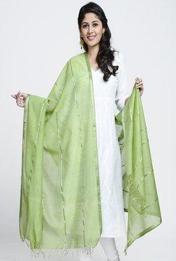 Fabindia Olive Maheshwari Woven Silver Stripe Dupatta
