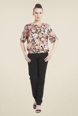 Globus Pink & Black Floral Print Top