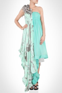 Alpana Neeraj Designer Wear Sea Green Dress by Kimaya
