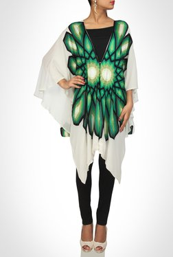 Pankaj & Nidhi Designer Green & White Kaftan Top by Kimaya