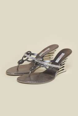 Haute Diva by Mochi Gunmetal Slide Wedge Sandal