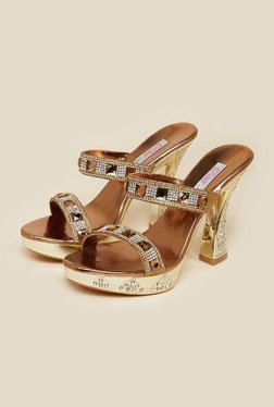 Haute Diva by Mochi Antique Gold Block Slide Sandals