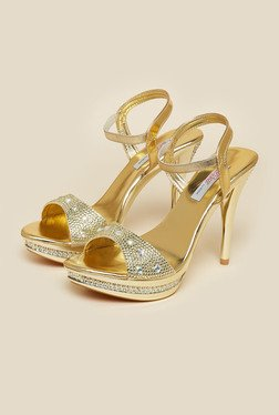 Haute Diva by Mochi Gold Ankle Strap Stilettos