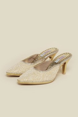 Haute Diva by Mochi Gold Stiletto Slide Sandals