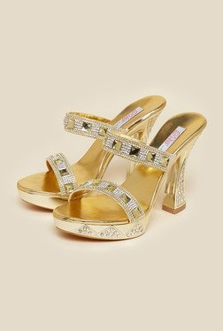 Haute Diva by Mochi Gold Block Slide Sandals