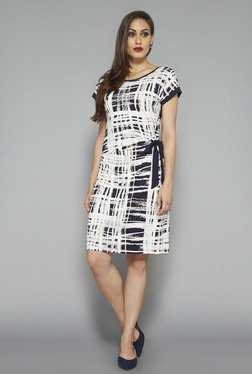 Wardrobe by Westside White & Black Printed Dress