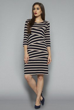 Wardrobe by Westside Navy & Beige Striped Dress