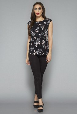 Wardrobe By Westside Black Floral Print Top