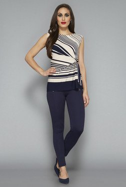 Wardrobe By Westside Beige & Navy Striped Top