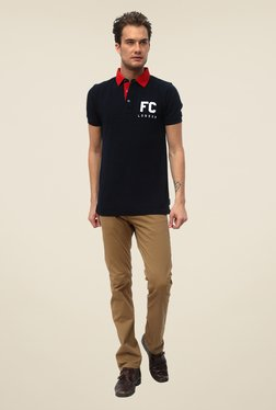 FCUK Navy Solid Short Sleeve T Shirt