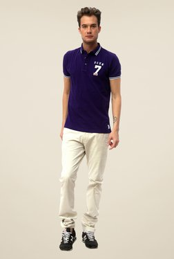 FCUK Violet Solid T Shirt