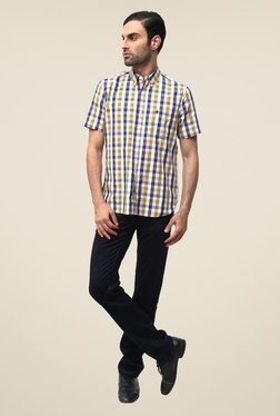 FCUK Blue Half Sleeve Checks Shirt