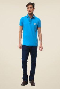 FCUK Blue Solid Short Sleeve T Shirt