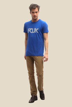 FCUK Blue Printed Crew Neck T Shirt