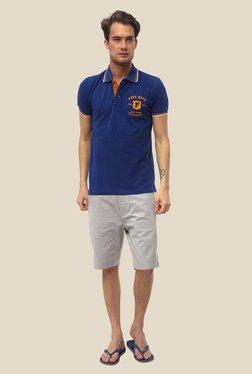 FCUK Navy Solid Shirt Collar T Shirt