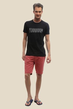 FCUK Black Printed Crew Neck T Shirt