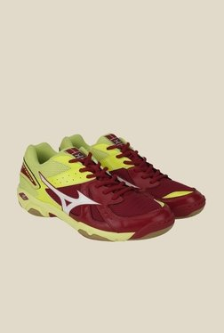 Mizuno Wave Twister 4 Maroon & Green Sports Shoes