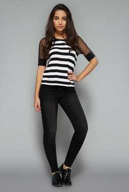 Nuon By Westside Black & White Striped Top