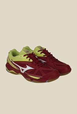 Mizuno Wave Hurricane 2 Maroon & Green Sports Shoes