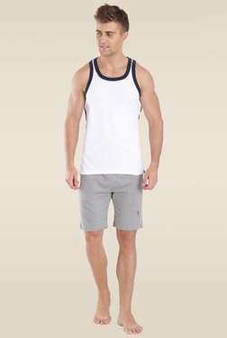 Jockey White & Navy Fashion Power Vest - 9927