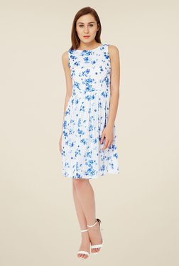 Avirate White Floral Print Dress