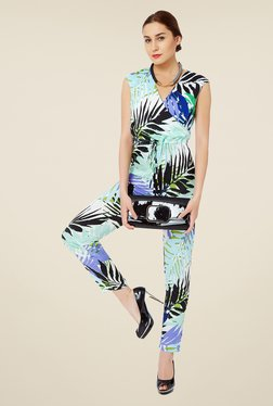 Avirate Blue Tropical Print Jumpsuit