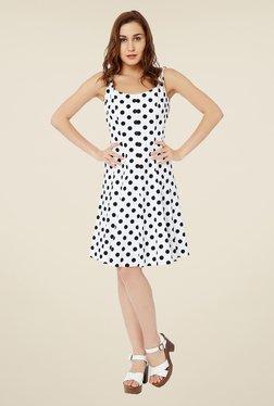Avirate White Polka Dot Dress
