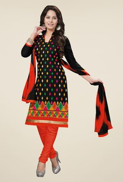 Salwar Studio Black & Red Embroidered Cotton Dress Material
