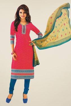 Salwar Studio Pink & Blue Printed Cotton Dress Material