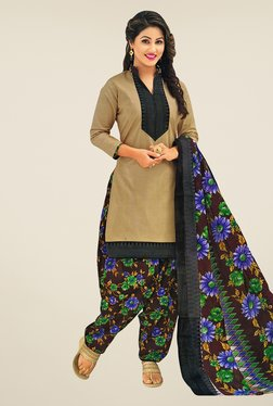 Salwar Studio Beige & Brown Printed Cotton Dress Material