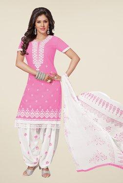 Salwar Studio Baby Pink & White Patiyala Dress Material