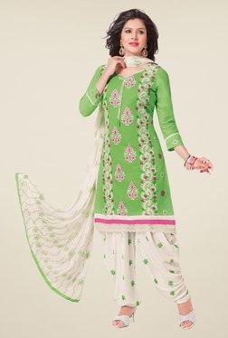 Salwar Studio Pastel Green & White Patiyala Dress Material