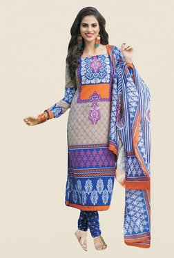 Salwar Studio Blue Printed Cotton Dress Material