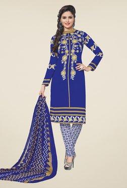 Salwar Studio Blue & White Printed Synthetic Dress Material