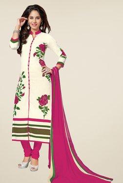 Salwar Studio Off White & Pink Printed Dress Material