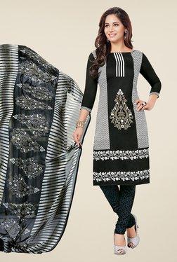 Salwar Studio Black & White Printed Dress Material