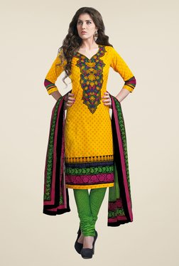 Salwar Studio Yellow & Light Green Dress Material