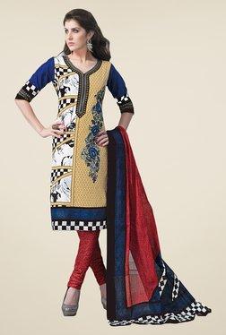 Salwar Studio Multicolor & Red Dress Material