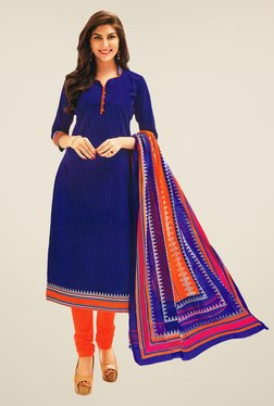 Salwar Studio Blue & Orange Striped Dress Material