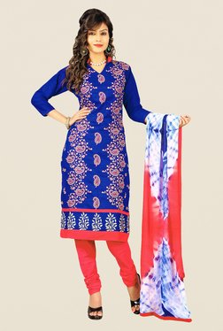 Salwar Studio Blue & Peach Embroidered Dress Material