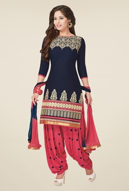 Salwar Studio Navy & Rose Pink Dress Material