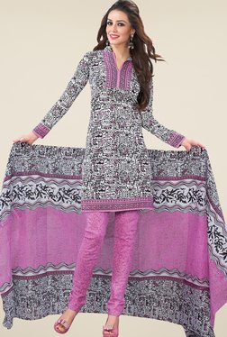 Salwar Studio Pastel Pink & White Printed Dress Material