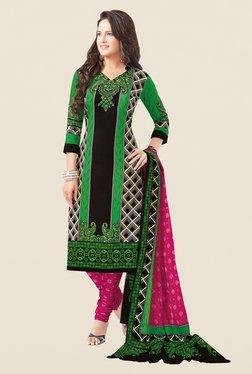 Salwar Studio Green & Pink Printed Free Size Dress Material