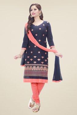 Salwar Studio Navy & Peach Embroidered Dress Material