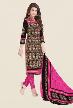 Salwar Studio Black & Pink Printed Cotton Dress Material