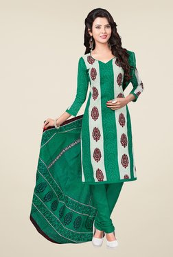 Salwar Studio Green & Off White Printed Dress Material