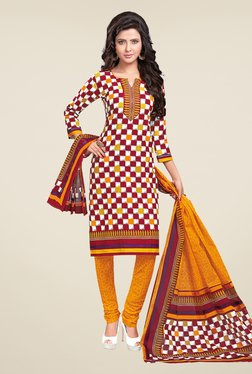 Salwar Studio Yellow & Red Checks Dress Material
